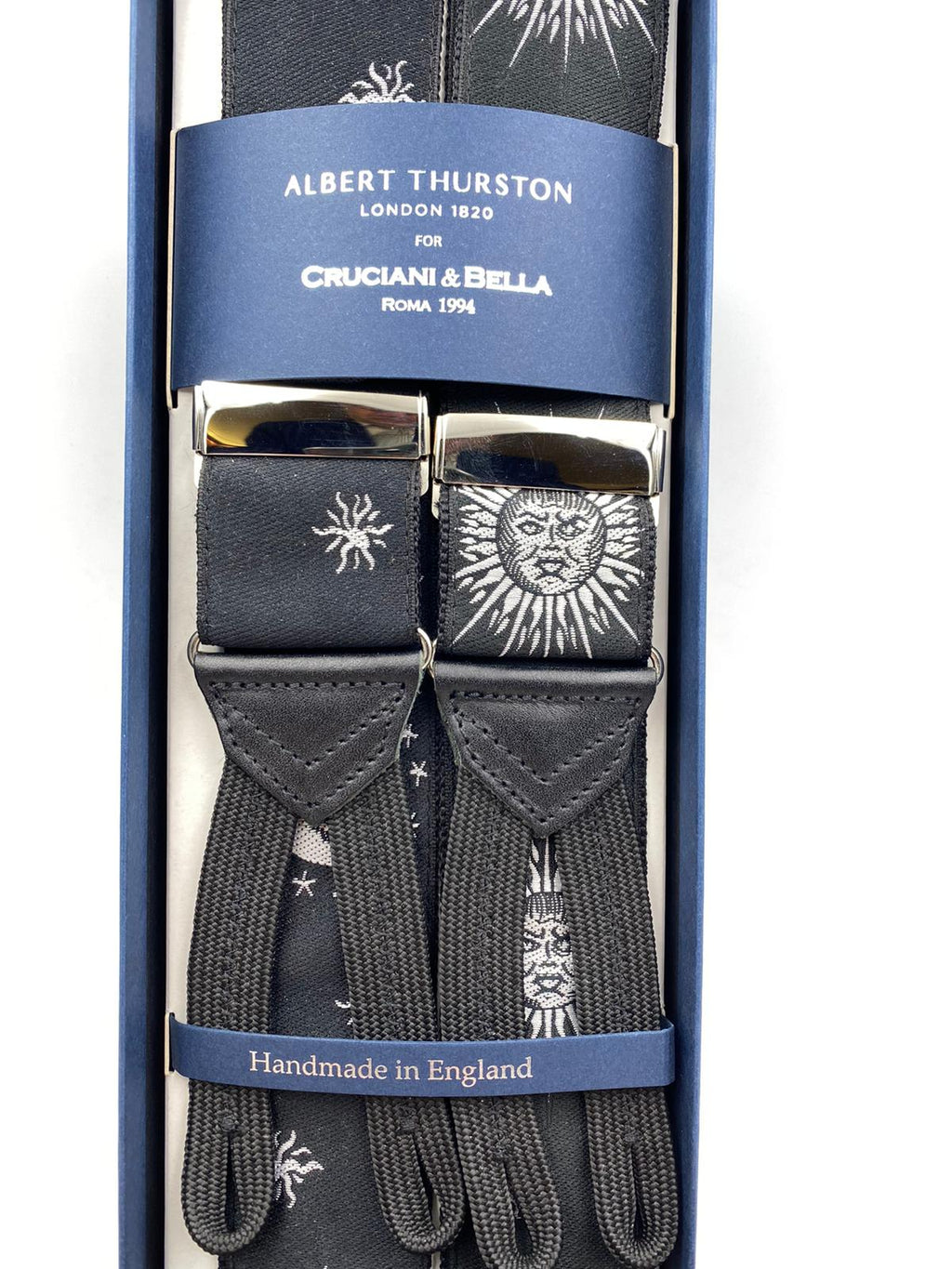 Albert Thurston for Cruciani & Bella Made in England Adjustable Sizing 40 mm Woven Barathea  Black and White Sun and Moon Braces Braid ends Y-Shaped Nickel Fittings Size: XL #4992