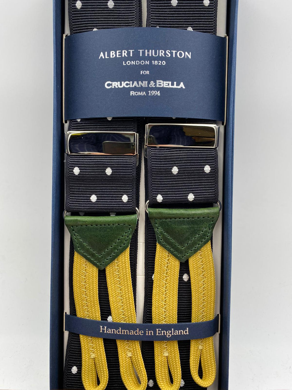 Albert Thurston for Cruciani & Bella Made in England Adjustable Sizing 40 mm Woven Barathea  Black and White Dots Braces Braid ends Y-Shaped Nickel Fittings Size: XL #4994