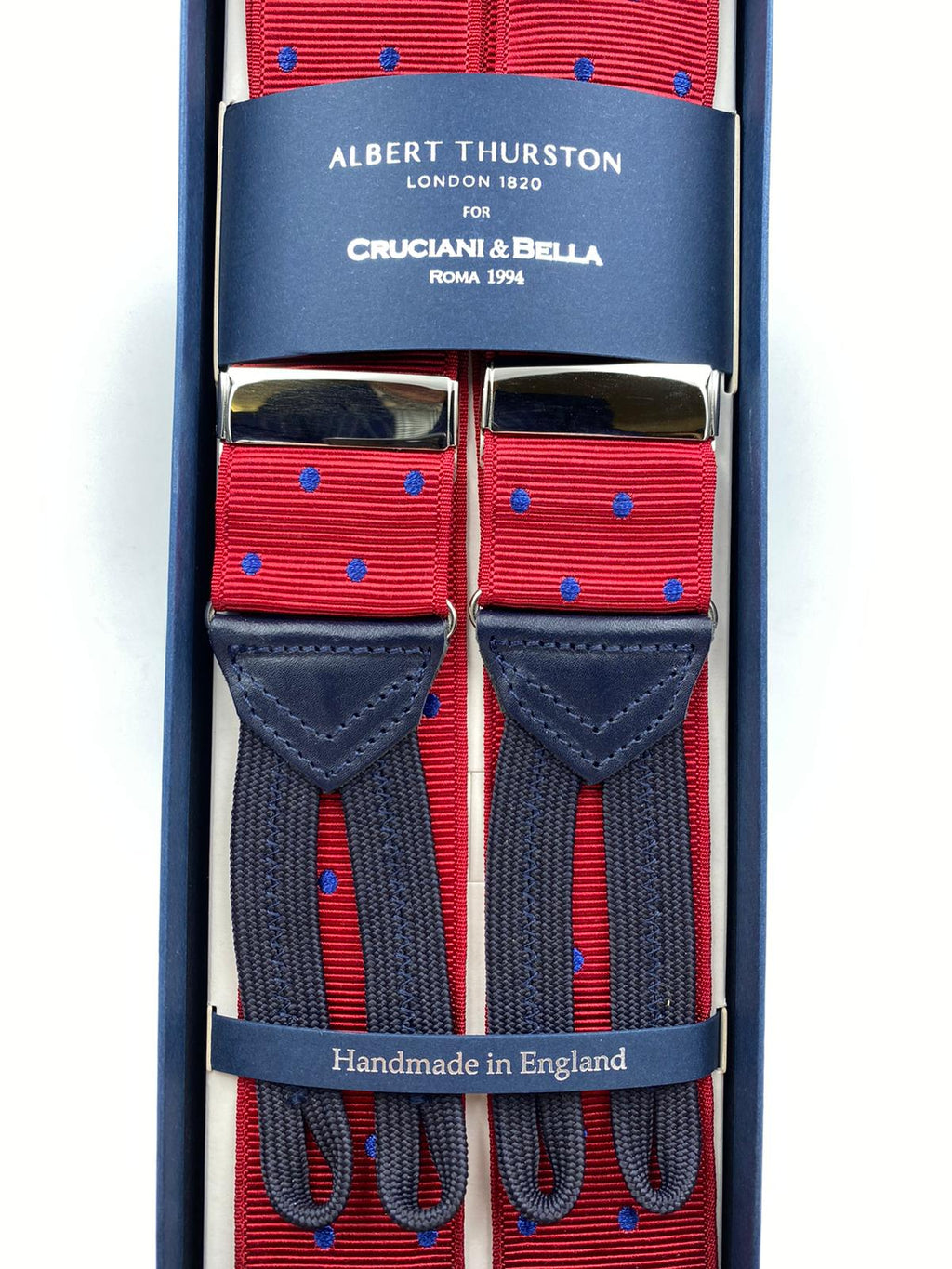 Albert Thurston for Cruciani & Bella Made in England Adjustable Sizing 40 mm Woven Barathea  Red and Blue Dots Braces Braid ends Y-Shaped Nickel Fittings Size: XL #4995