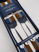 Albert Thurston for Cruciani & Bella Made in England Adjustable Sizing 35 mm elastic  braces Blue, Hazelnut and White stripes braces Braid ends Y-Shaped Nickel Fittings Size: L #4520
