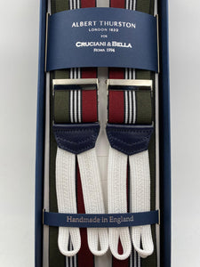 Albert Thurston for Cruciani & Bella Made in England Adjustable Sizing 35 mm elastic  braces Green, Red and White stripes braces Braid ends Y-Shaped Nickel Fittings Size: L #4521