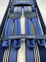 Albert Thurston for Cruciani & Bella Made in England Adjustable Sizing 35 mm elastic  braces Blue and White stripes braces Braid ends Y-Shaped Nickel Fittings Size: L #4953
