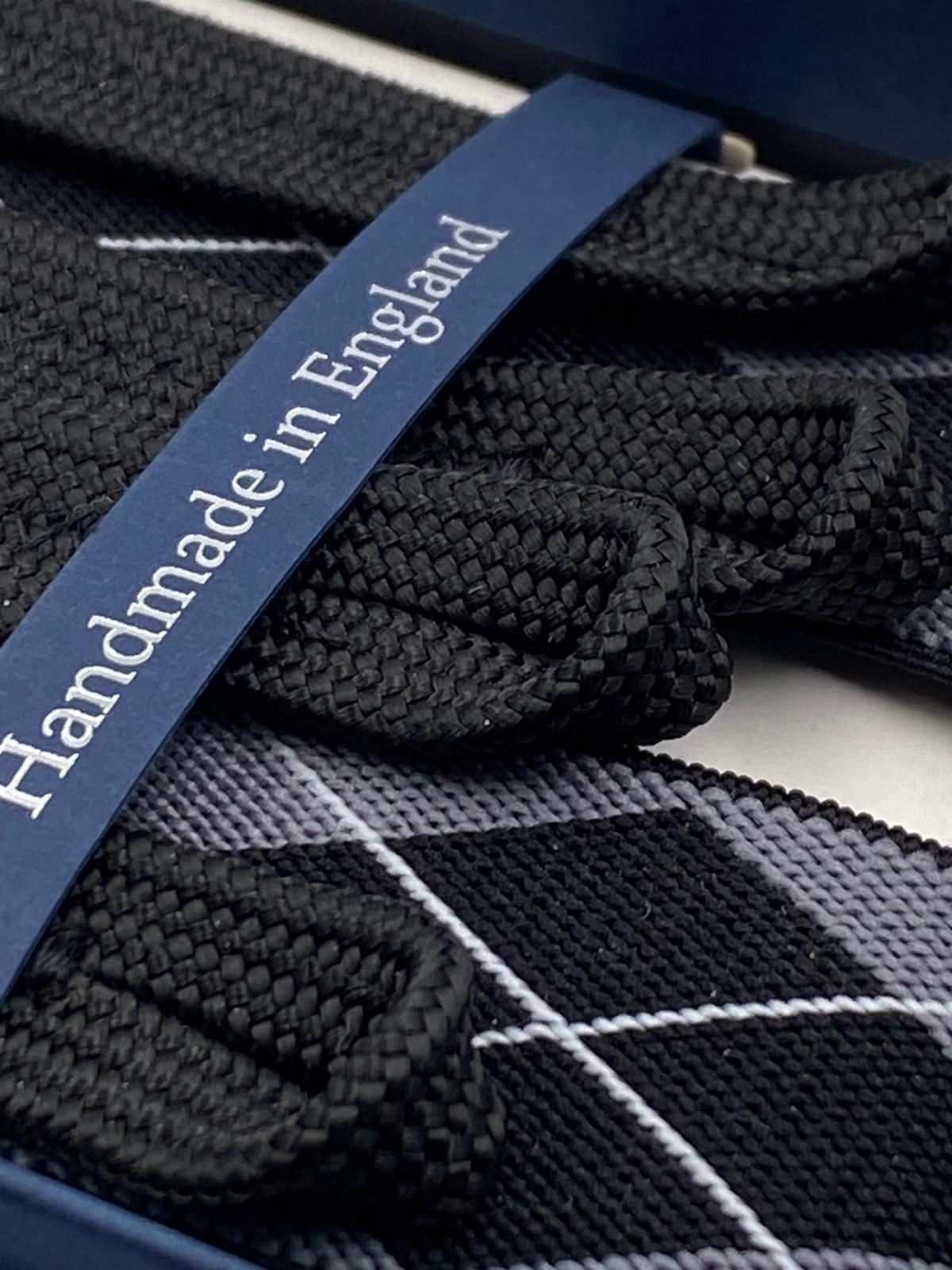 Albert Thurston for Cruciani & Bella Made in England Adjustable Sizing 35 mm elastic  braces Grey, Black and White tartan braces Braid ends Y-Shaped Nickel Fittings Size: L #4949