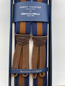 Albert Thurston for Cruciani & Bella Made in England Adjustable Sizing 35 mm elastic  braces Brown Harringbone and Blue Stripes braces Braid ends Y-Shaped Nickel Fittings Size: L #4966