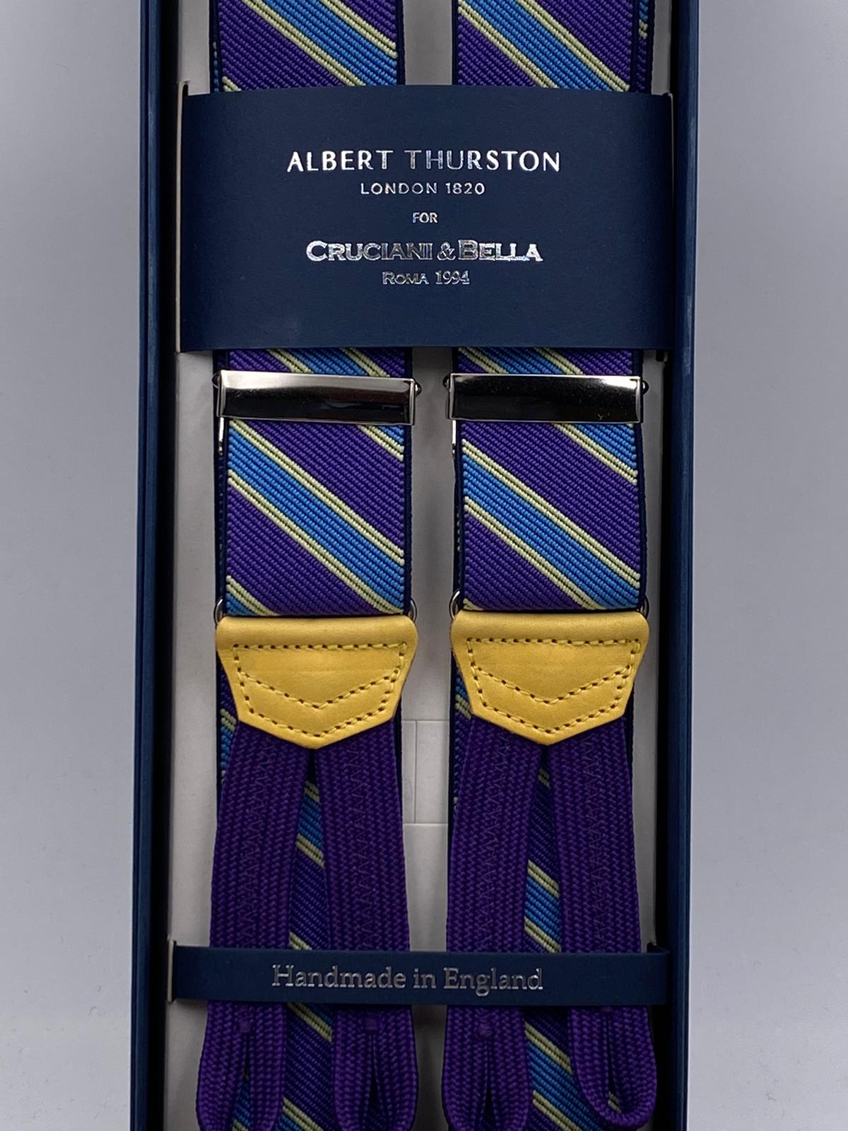 Albert Thurston for Cruciani & Bella Made in England Adjustable Sizing 35 mm elastic  braces Purple, Sky Blue and Yellow Stripes braces Braid ends Y-Shaped Nickel Fittings Size: L #4974