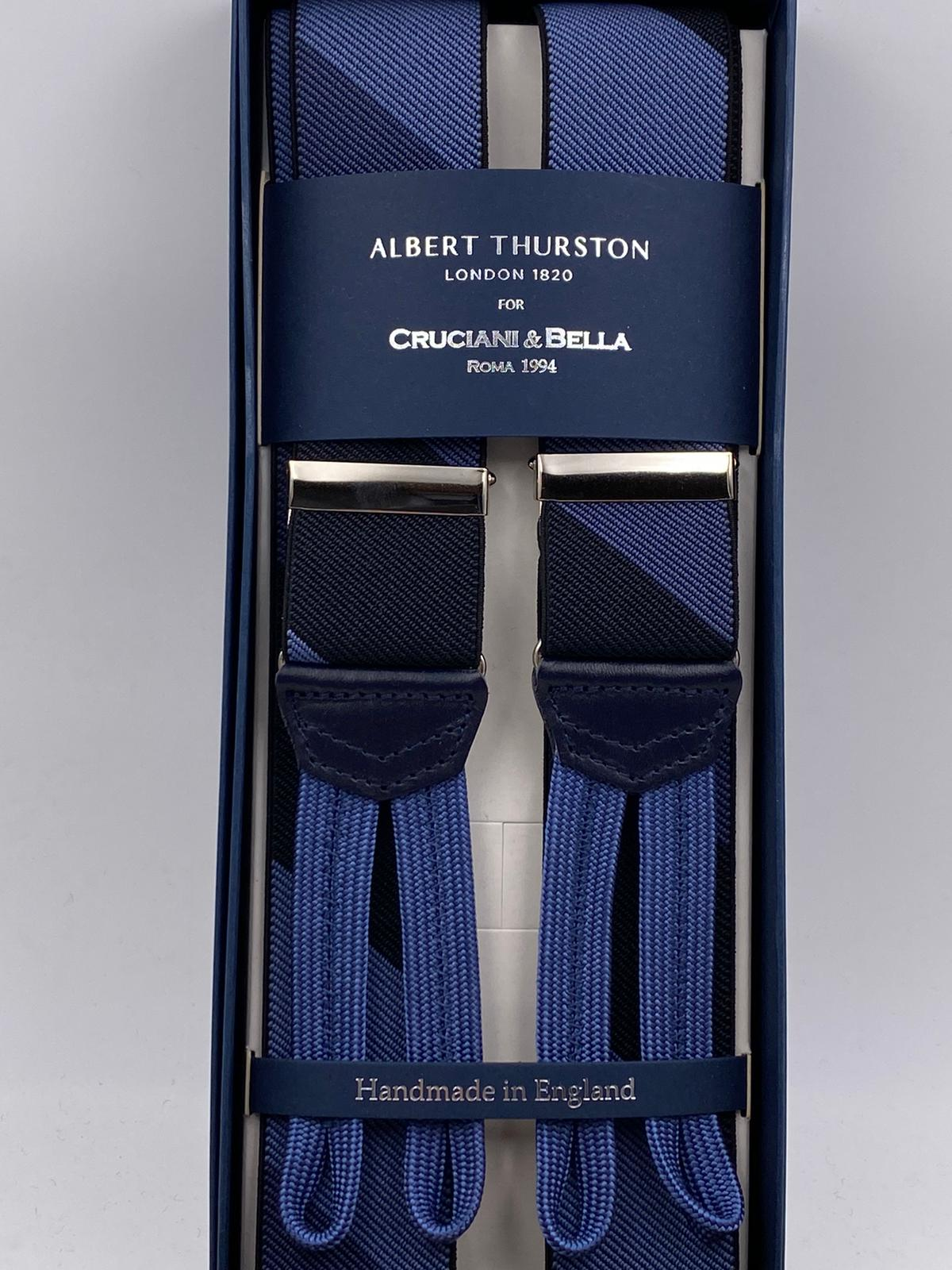 Albert Thurston for Cruciani & Bella Made in England Adjustable Sizing 35 mm elastic  braces Blue and Black Large Stripes braces Braid ends Y-Shaped Nickel Fittings Size: L #4951