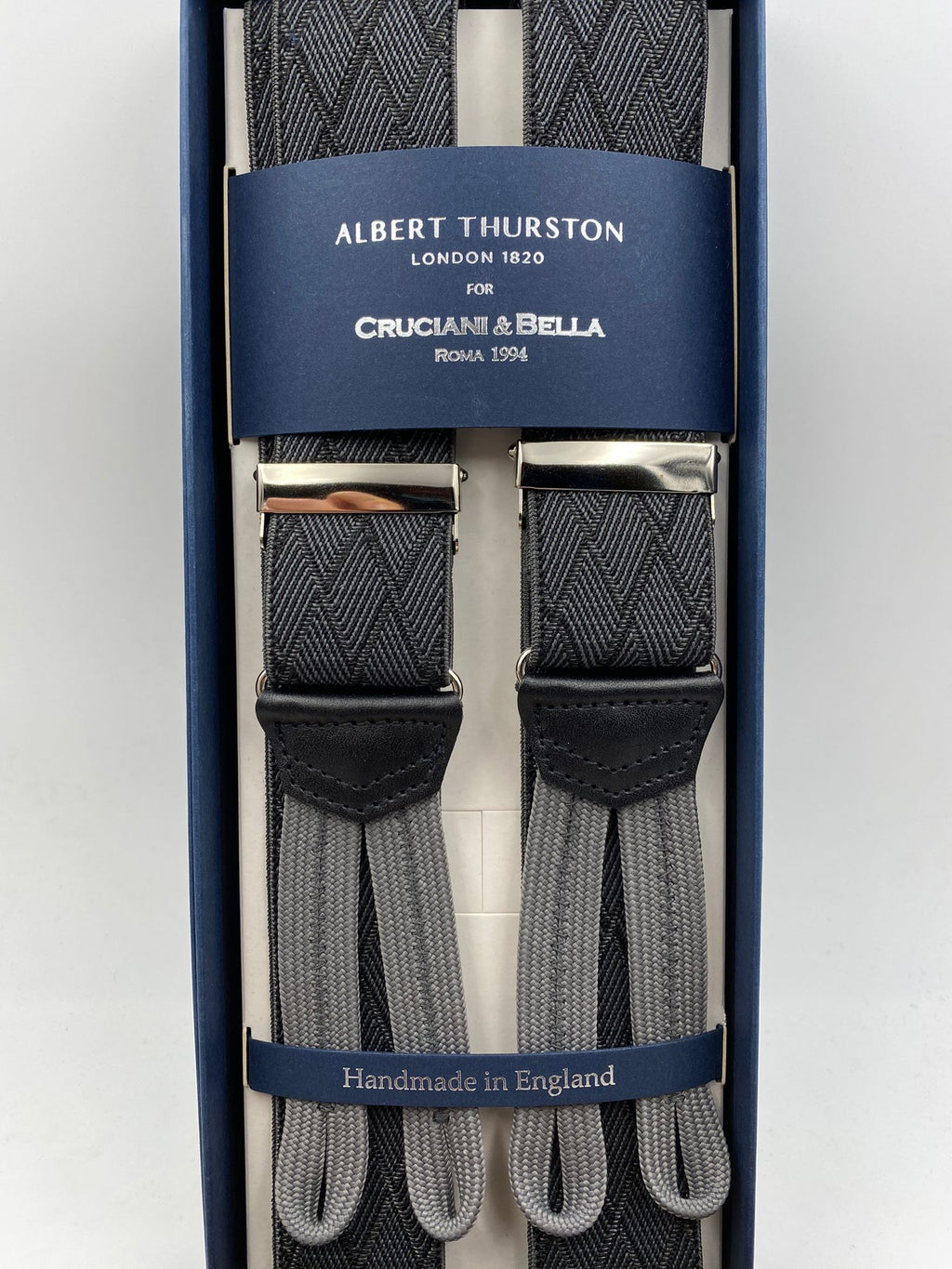 Albert Thurston for Cruciani & Bella Made in England Adjustable Sizing 35 mm elastic  braces Grey and Black  Rhombus braces Braid ends Y-Shaped Nickel Fittings Size: L #4965