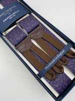 Albert Thurston for Cruciani & Bella Made in England Adjustable Sizing 35 mm elastic  braces Blue and Brown Paisley Motif Braid ends Y-Shaped Nickel Fittings Size: L #4284