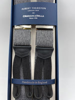 Albert Thurston for Cruciani & Bella Made in England Adjustable Sizing 35 mm elastic  brace Melange Grey Plain Braid ends Y-Shaped Nickel Fittings Size: L #4937