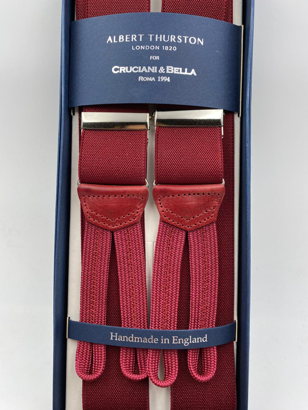 Albert Thurston for Cruciani & Bella Made in England Adjustable Sizing 35 mm elastic  brace Wine Plain Braid ends Y-Shaped Nickel Fittings Size: L #5363