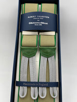 Albert Thurston for Cruciani & Bella Made in England Adjustable Sizing 35 mm elastic braces Light Beige and Green Braid ends Y-Shaped Nickel Fittings Size: L #4957
