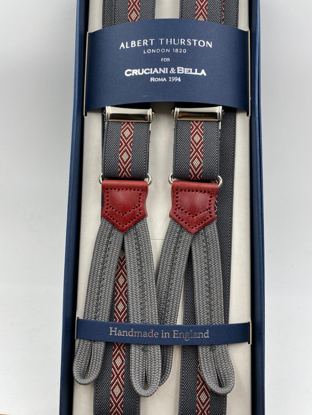 Albert Thurston for Cruciani & Bella Made in England Adjustable Sizing 25 mm elastic braces Grey and Red Motif Braid ends Y-Shaped Nickel Fittings Size: L #4900