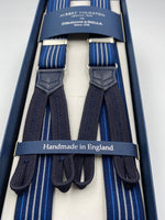 Albert Thurston for Cruciani & Bella Made in England Adjustable Sizing 25 mm elastic braces Blue and White Stripes Braid ends Y-Shaped Nickel Fittings Size: L #4889
