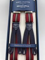 Albert Thurston for Cruciani & Bella Made in England Adjustable Sizing 25 mm elastic braces  Bourgundy and Blue Stripes Braid ends Y-Shaped Nickel Fittings Size: L #4890