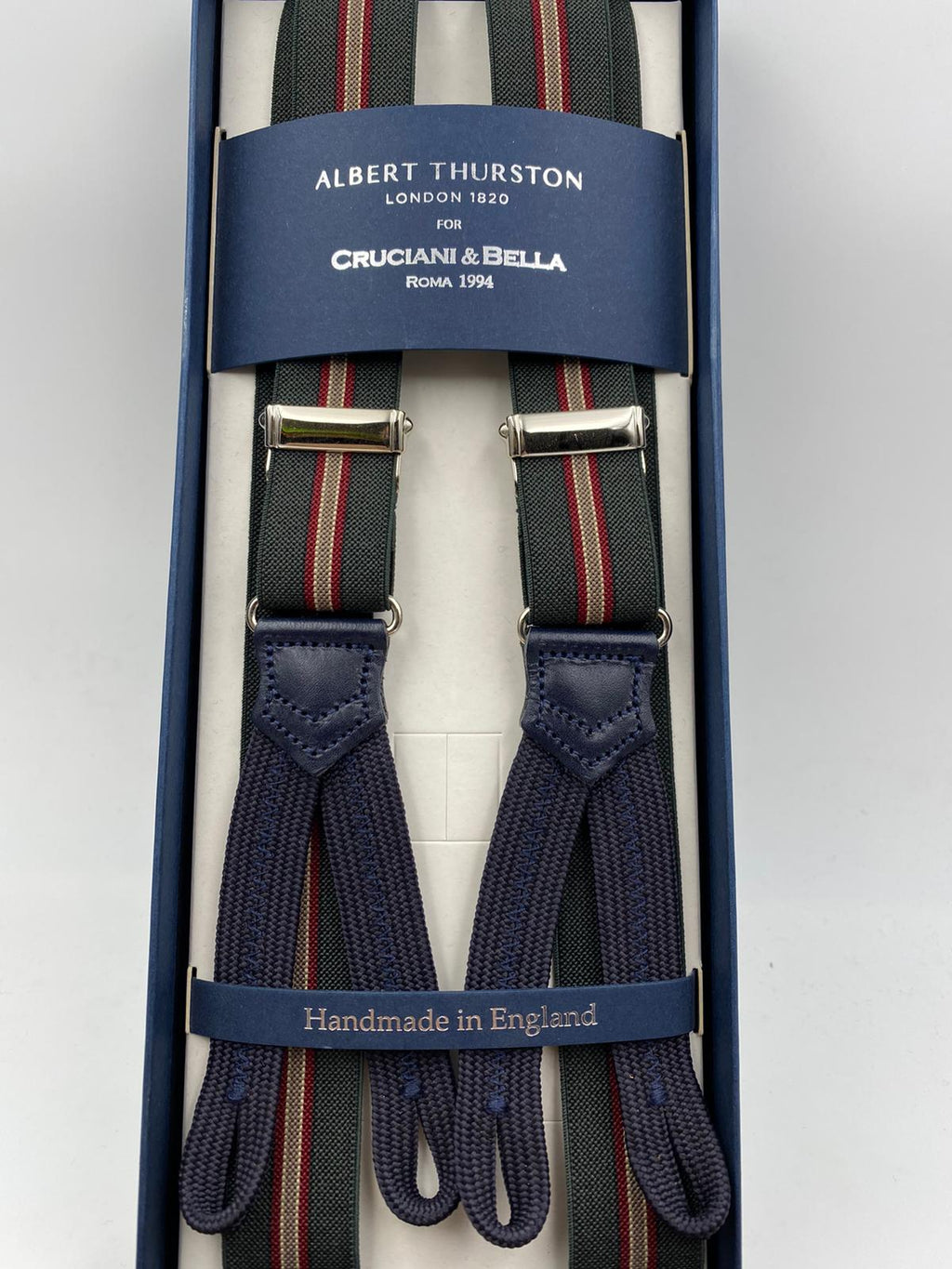 Albert Thurston for Cruciani & Bella Made in England Adjustable Sizing 25 mm elastic braces Dark Green and Red  Stripes Braid ends Y-Shaped Nickel Fittings Size: L #4891
