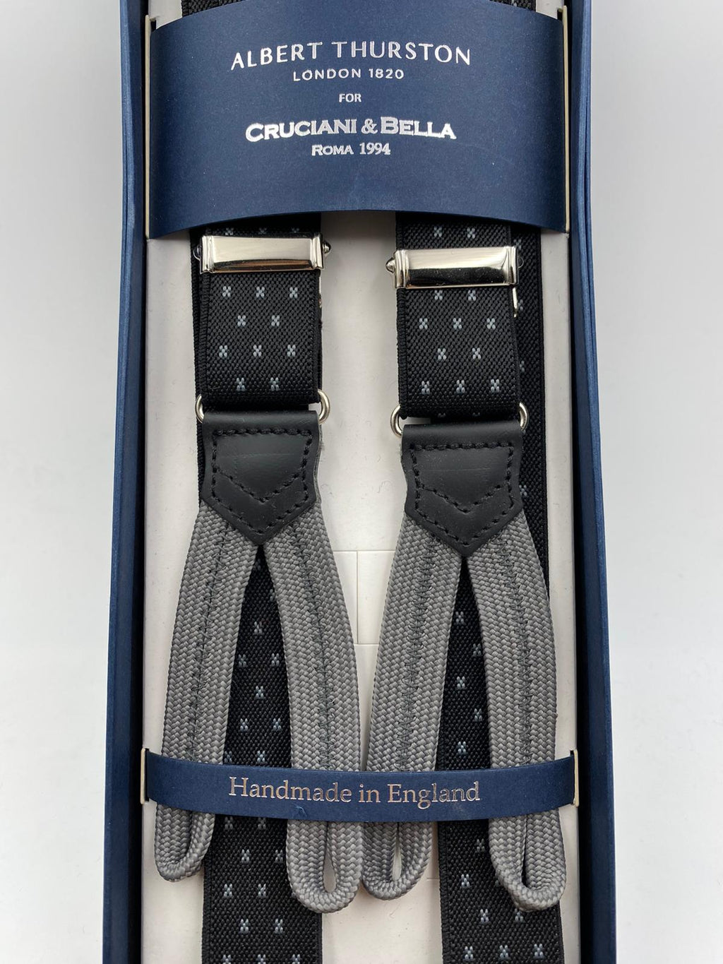 Albert Thurston for Cruciani & Bella Made in England Adjustable Sizing 25 mm elastic braces Black and Grey Motif Braid ends Y-Shaped Nickel Fittings Size: L #4266