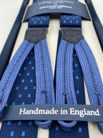 Albert Thurston for Cruciani & Bella Made in England Adjustable Sizing 25 mm elastic braces Navy Blue Motif Braid ends Y-Shaped Nickel Fittings Size: L #4893