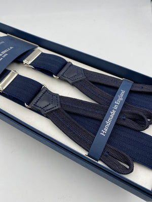 Albert Thurston for Cruciani & Bella Made in England Adjustable Sizing 25 mm elastic braces Dark Blue Herringbone Motif Braid ends Y-Shaped Nickel Fittings Size: L #4921