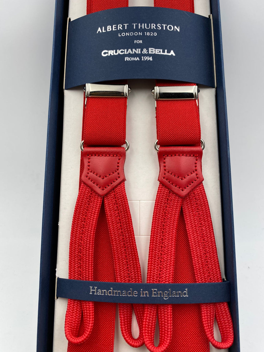 Albert Thurston for Cruciani & Bella Made in England Adjustable Sizing 25 mm elastic braces Red Plain Braid ends Y-Shaped Nickel Fittings Size: L #4911