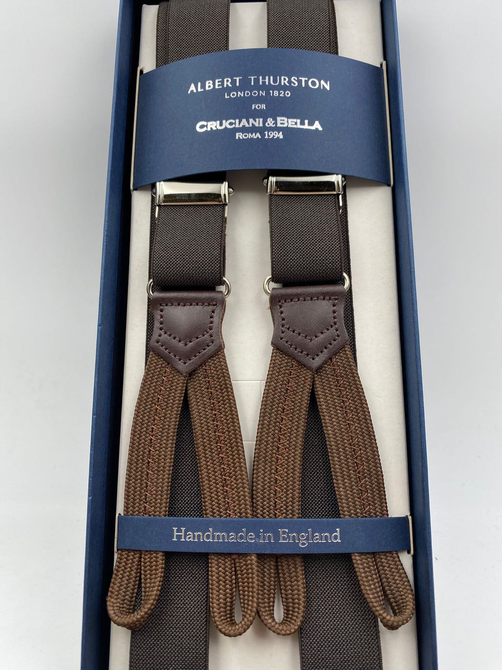 Albert Thurston for Cruciani & Bella Made in England Adjustable Sizing 25 mm elastic braces Brown  Plain Braid ends Y-Shaped Nickel Fittings Size: L #4913