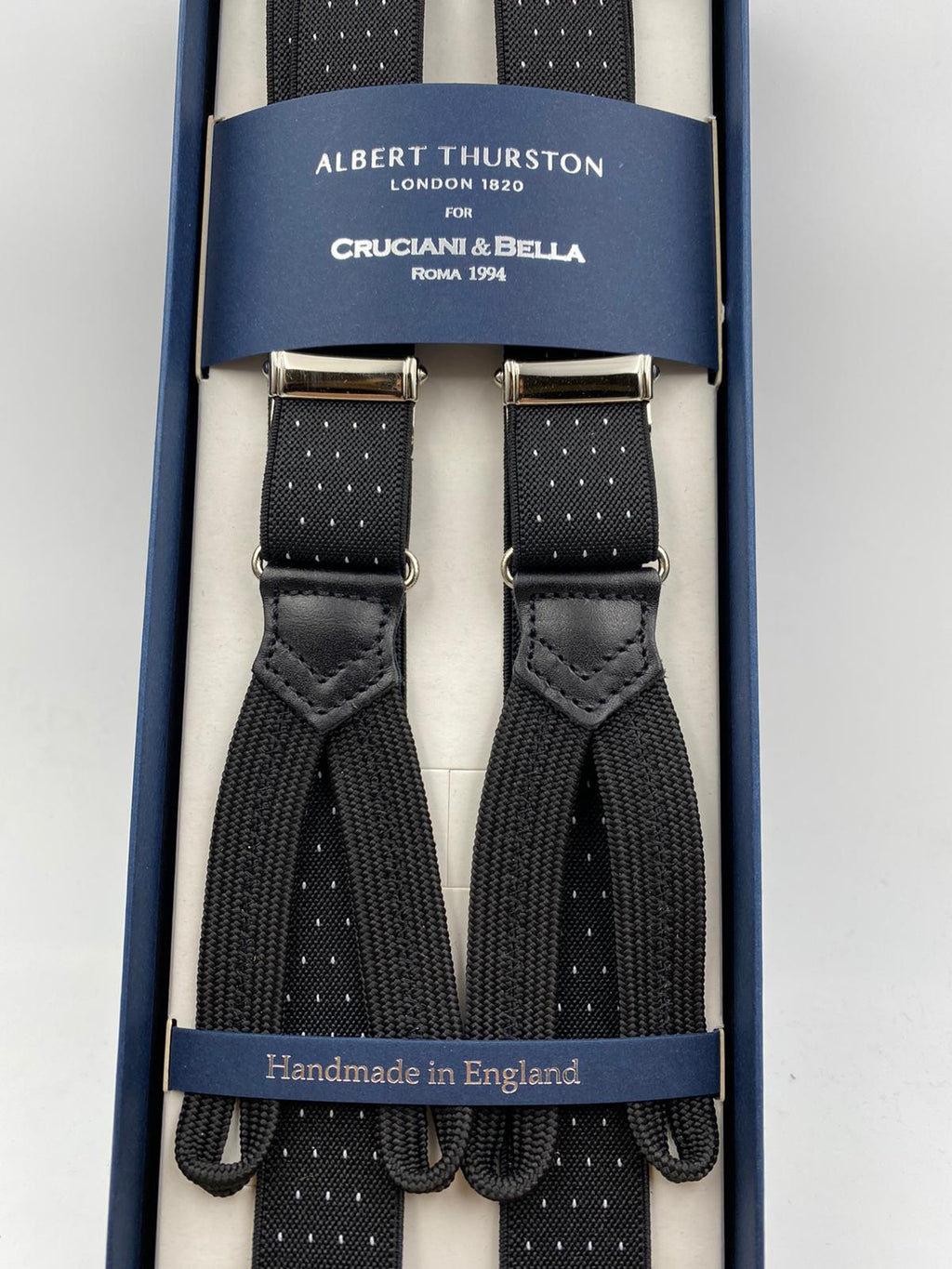 Albert Thurston for Cruciani & Bella Made in England Adjustable Sizing 25 mm elastic braces Black  and White Dot Braid ends Y-Shaped Nickel Fittings Size: L #4925