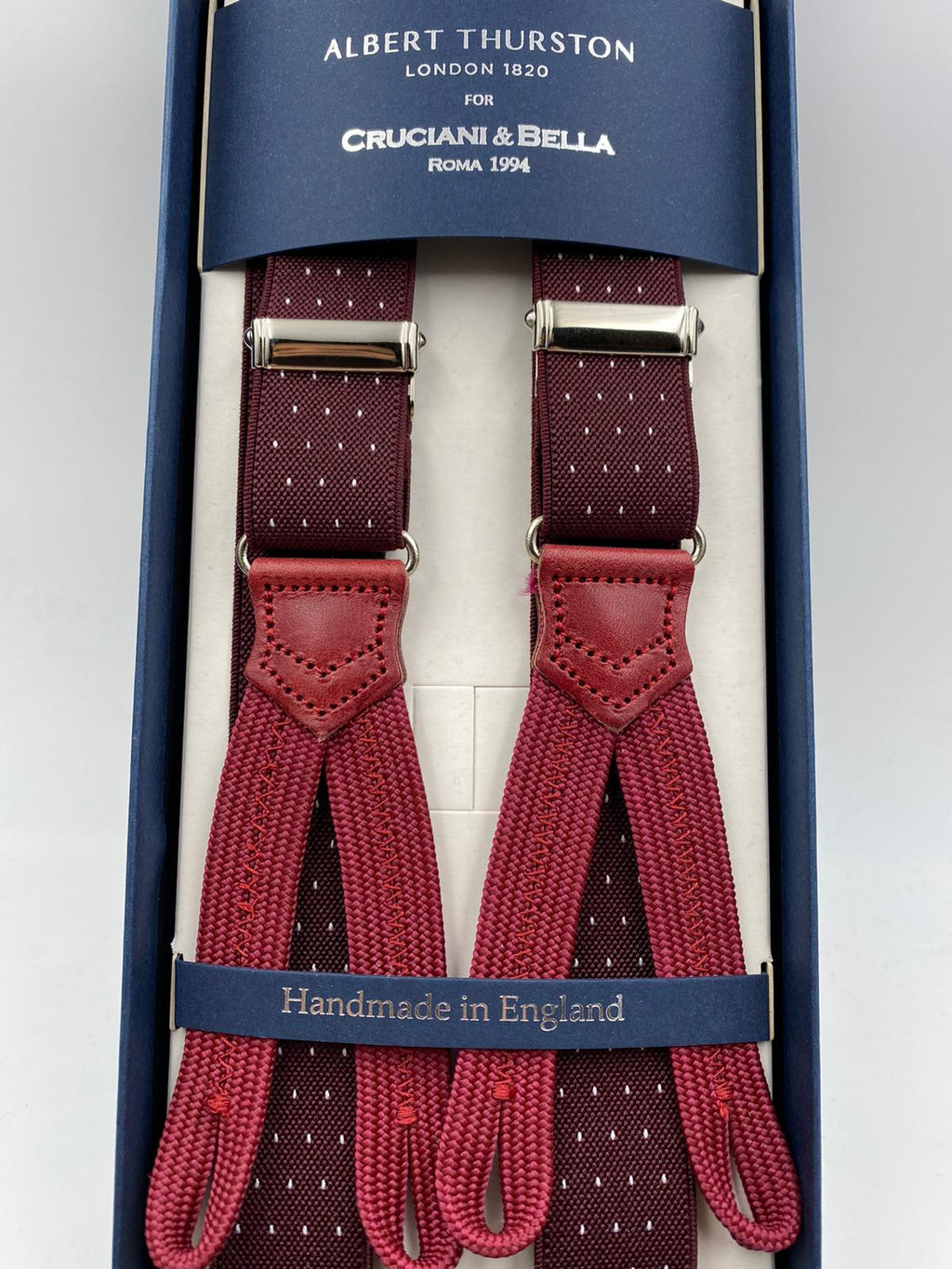 Albert Thurston for Cruciani & Bella Made in England Adjustable Sizing 25 mm elastic braces Burgundy and White  Dot Braid ends Y-Shaped Nickel Fittings Size: L #4894