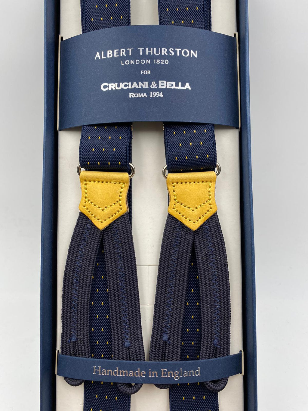 Albert Thurston for Cruciani & Bella Made in England Adjustable Sizing 25 mm elastic braces Blue and Yellow Dot Braid ends Y-Shaped Nickel Fittings Size: L #4899