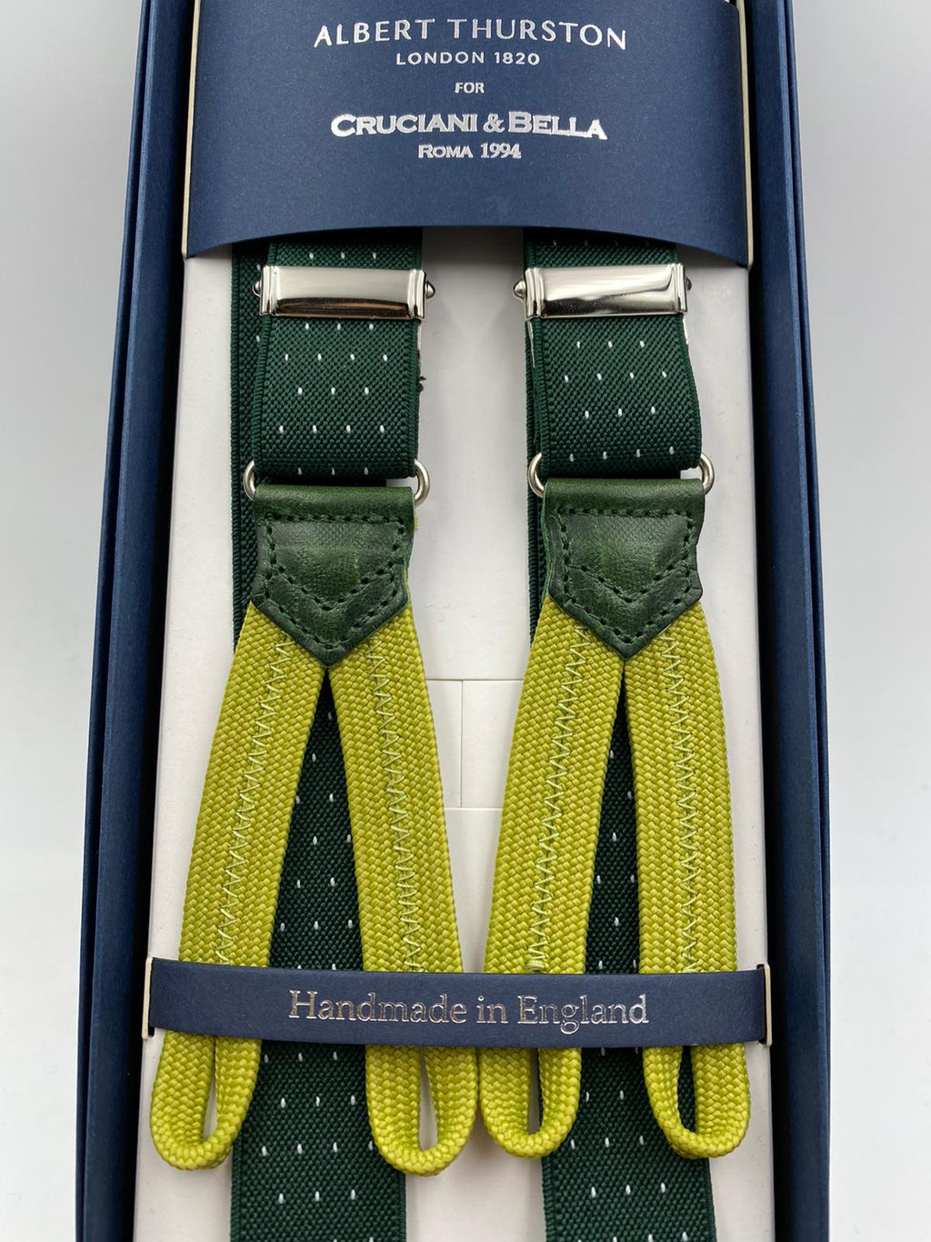 Albert Thurston for Cruciani & Bella Made in England Adjustable Sizing 25 mm elastic braces Green and White Dot Braid ends Y-Shaped Nickel Fittings Size: L #3738