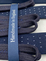 Albert Thurston for Cruciani & Bella Made in England Adjustable Sizing 25 mm elastic braces Blue and White Dot Braid ends Y-Shaped Nickel Fittings Size: L #4907
