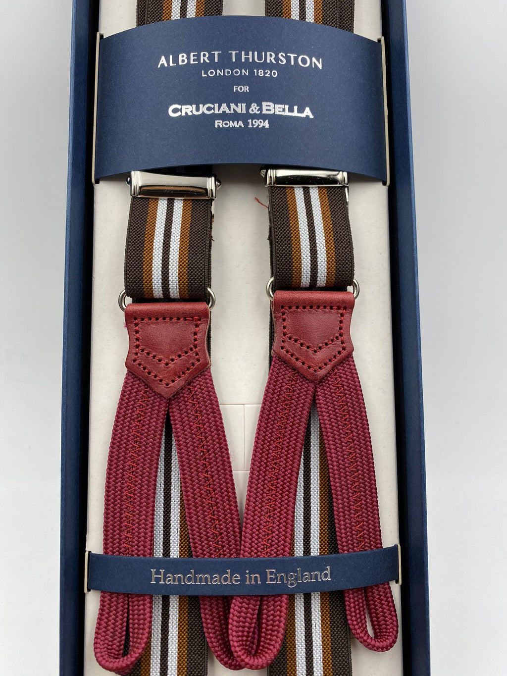 Albert Thurston for Cruciani & Bella Made in England Adjustable Sizing 25 mm elastic braces Brown and White Stripes Braid ends Y-Shaped Nickel Fittings Size: L #4903