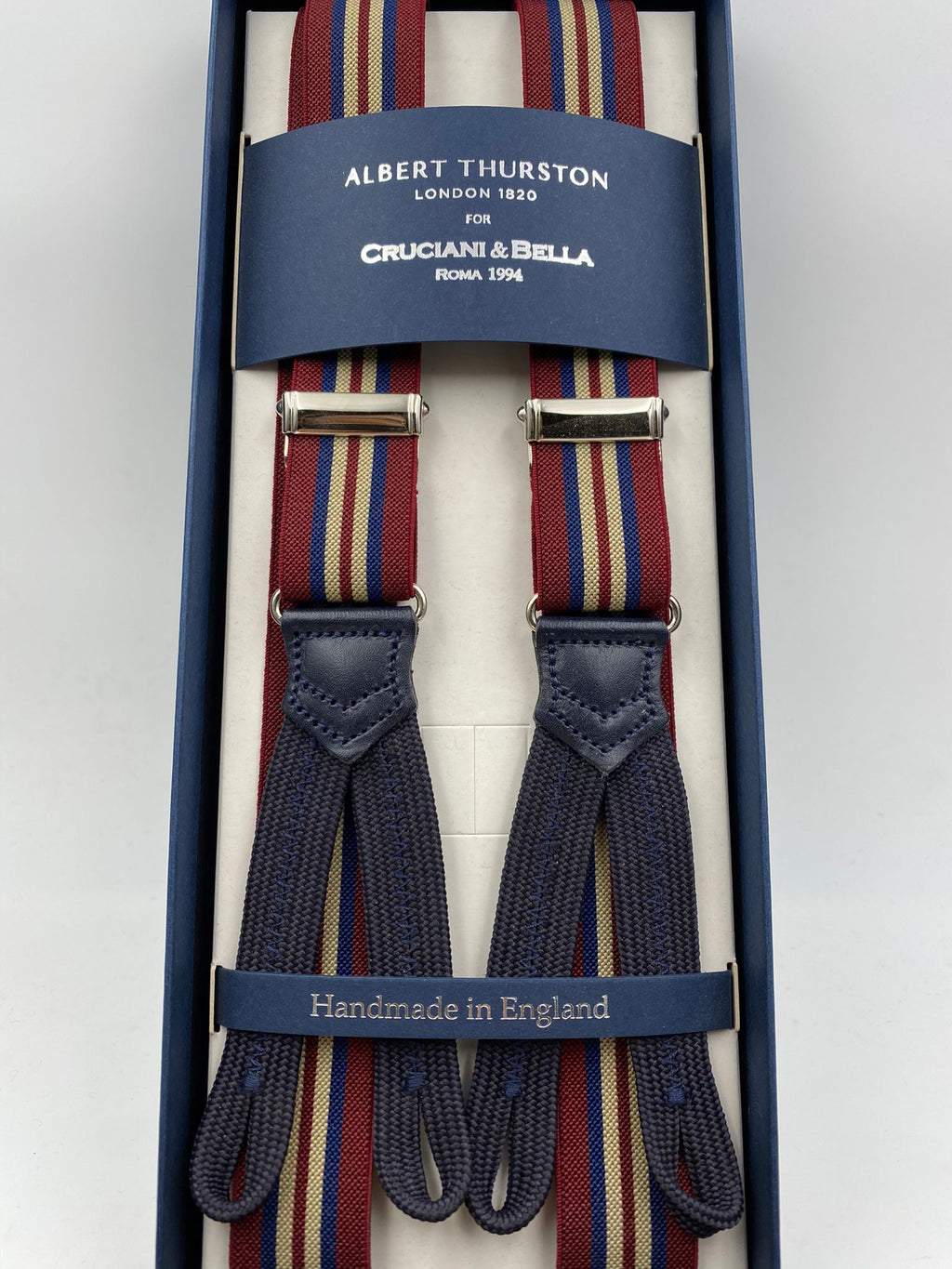 Albert Thurston for Cruciani & Bella Made in England Adjustable Sizing 25 mm elastic braces Burgundy and Blue Stripes Braid ends Y-Shaped Nickel Fittings Size: L #4905