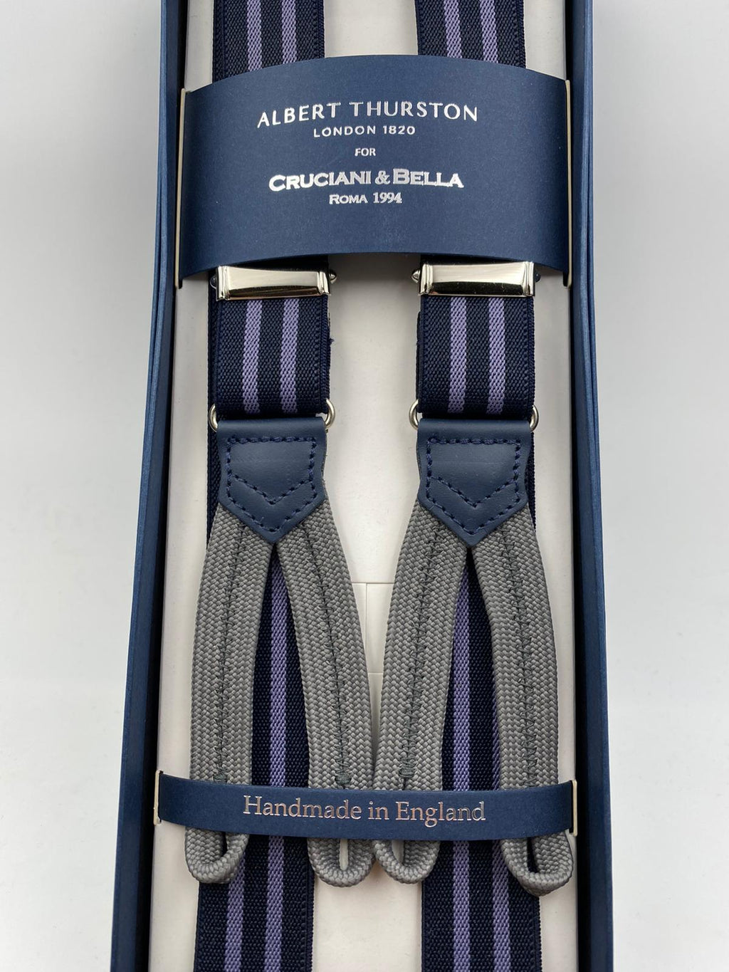Albert Thurston for Cruciani & Bella Made in England Adjustable Sizing 25 mm elastic braces Blue and Purple Stripes Braid ends Y-Shaped Nickel Fittings Size: L #4261