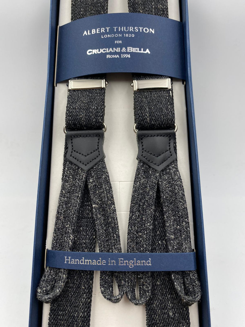 Albert Thurston for Cruciani & Bella Made in England Adjustable Sizing 25 mm elastic braces Grey Plain Melange Braid ends Y-Shaped Nickel Fittings Size: L #4898