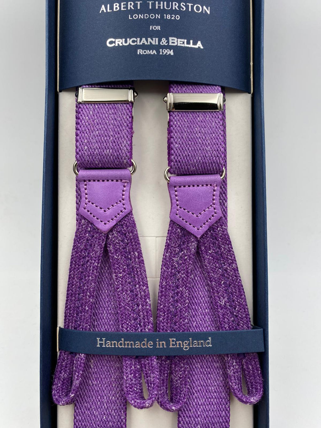 Albert Thurston for Cruciani & Bella Made in England Adjustable Sizing 25 mm elastic braces Purple Plain Braid ends Y-Shaped Nickel Fittings Size: L #4897