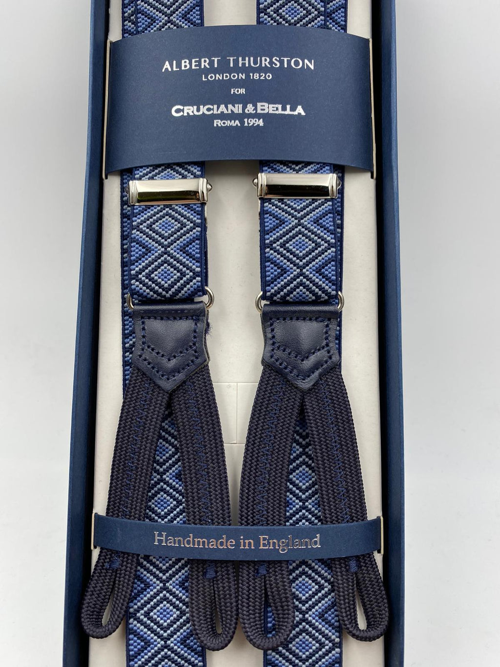 Albert Thurston for Cruciani & Bella Made in England Adjustable Sizing 25 mm elastic braces Blue Optical Motif Braid ends Y-Shaped Nickel Fittings Size: L #4909