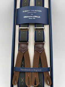 Albert Thurston for Cruciani & Bella Made in England Adjustable Sizing 25 mm elastic braces Green and Blue Golf Motif Braid ends Y-Shaped Nickel Fittings Size: L #4888