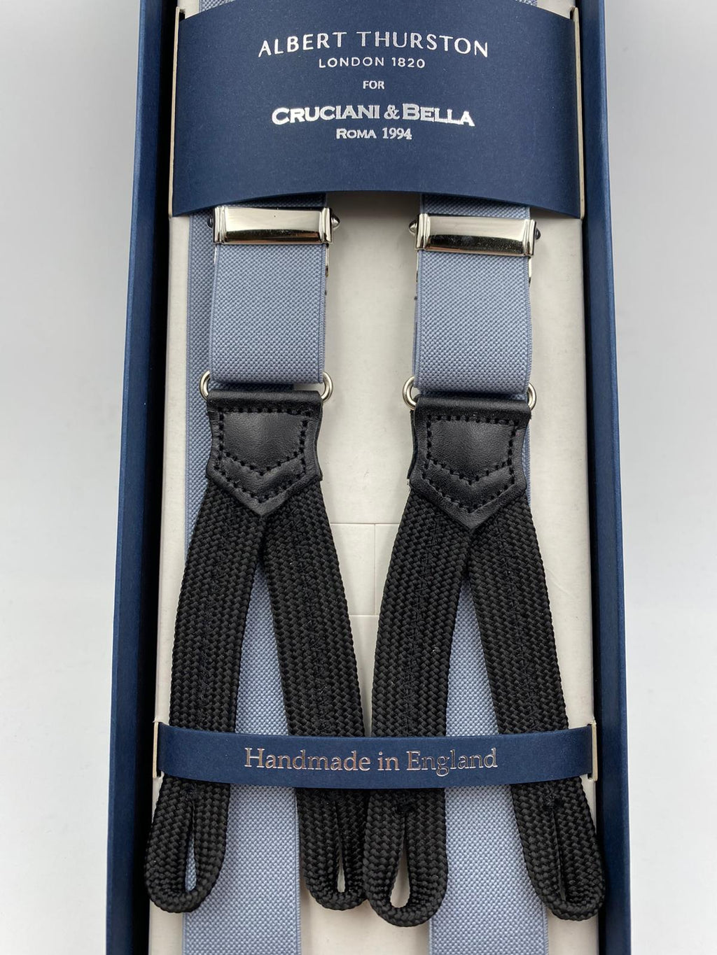Albert Thurston for Cruciani & Bella Made in England Adjustable Sizing 25 mm elastic braces Light Grey Plain Braid ends Y-Shaped Nickel Fittings Size: L #4923