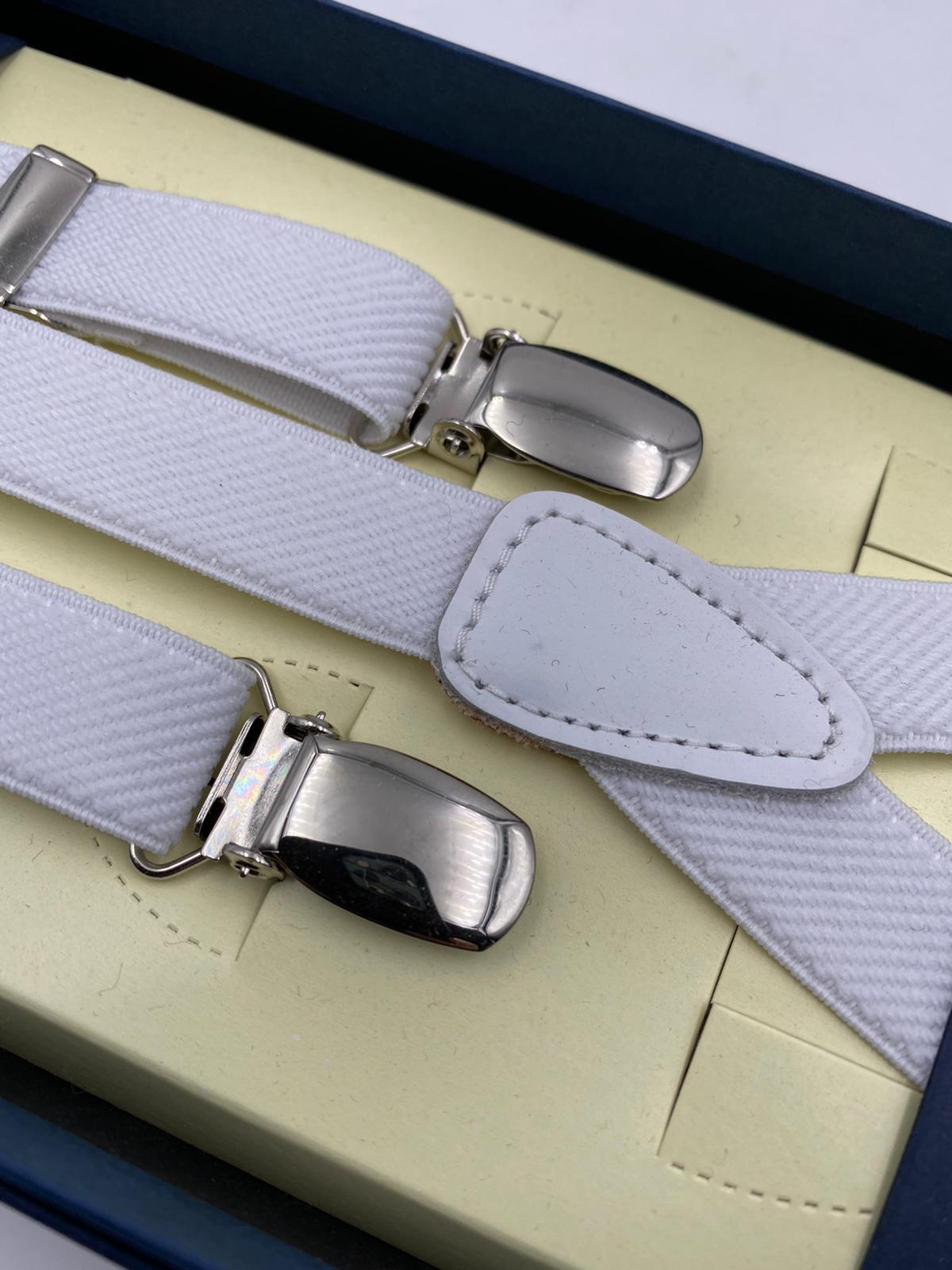 Albert Thurston for Cruciani & Bella Made in England Adjustable Sizing 18 mm elastic braces White  Plain braces Braid ends Y-Shaped Nickel Fittings Size: L #2303