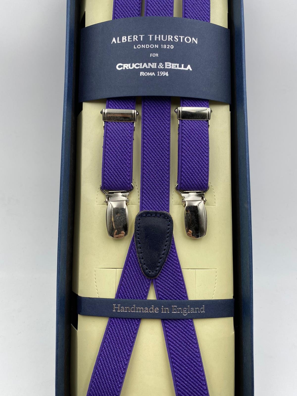 Albert Thurston for Cruciani & Bella Made in England Adjustable Sizing 18 mm elastic braces Purple  Plain braces Braid ends Y-Shaped Nickel Fittings Size: L 2305