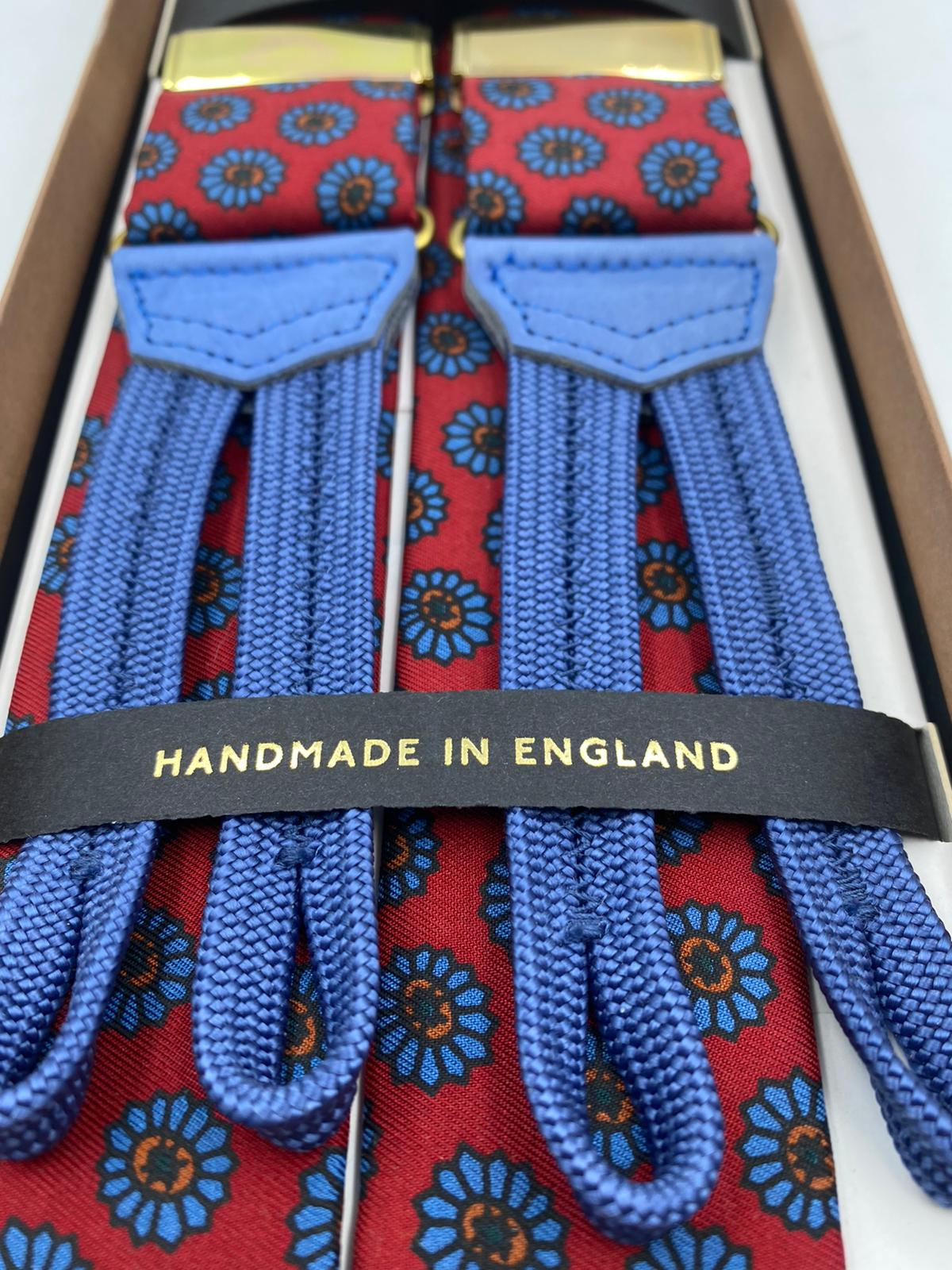 Albert Thurston for Cruciani & Bella Made in England Adjustable Sizing 40 mm braces Keyte Silk   Red and Light blue  Braid ends Y-Shaped Nickel Fitting 3701 XL