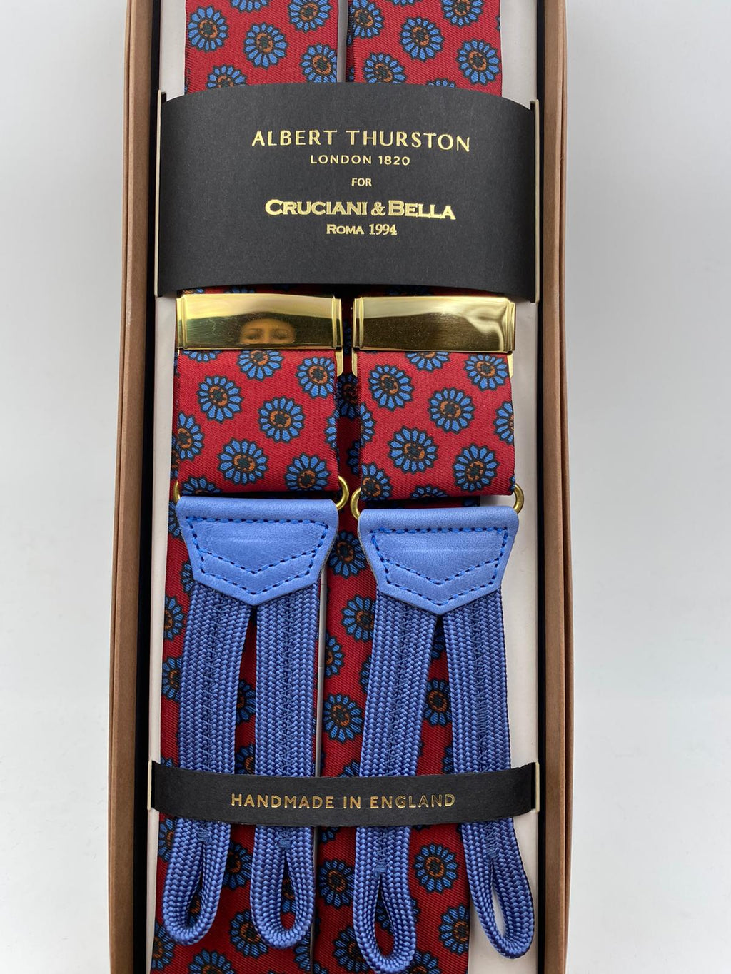 Albert Thurston - Braces - 40 mm - Keyte Silk - Red and Light Blue #3701