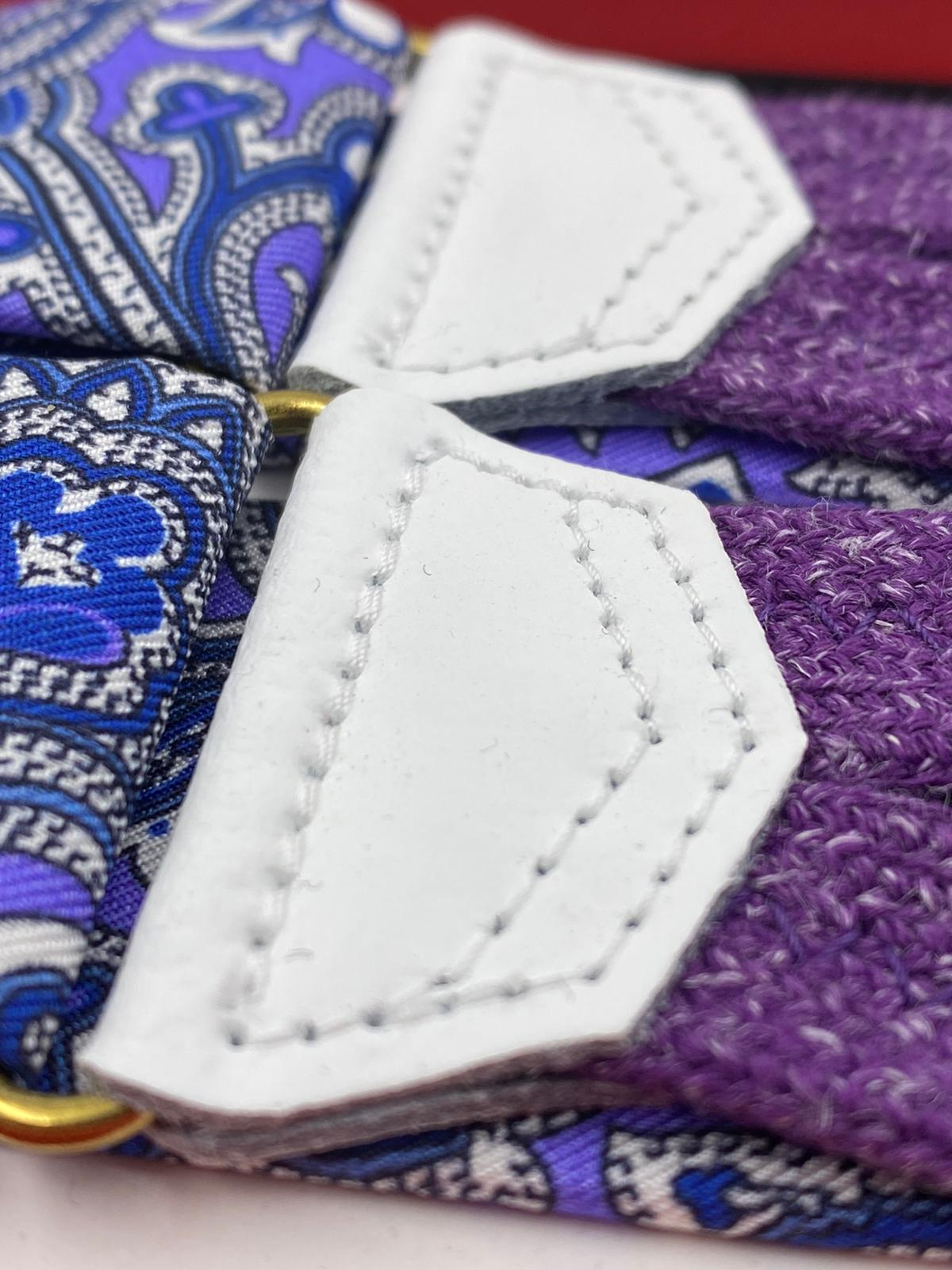 Albert Thurston for Cruciani & Bella Made in England Adjustable Sizing 40 mm braces Keyte Silk   Purple Blue and White Flower Motif Braid ends Y-Shaped Nickel Fitting 3704 XL