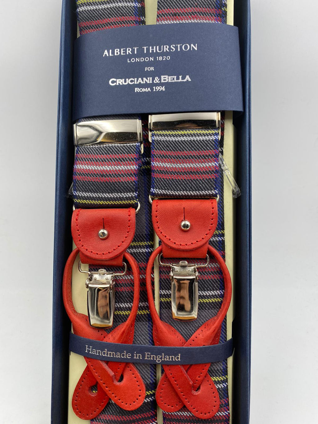 Albert Thurston for Cruciani & Bella Made in England 2 in 1 Adjustable Sizing 40 mm wool braces Grey Background and Multicolor Stripes Y-Shaped Nickel Fittings Size: L #1192