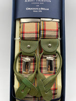 Albert Thurston for Cruciani & Bella Made in England 2 in 1 Adjustable Sizing 40 mm wool braces Beige Tartan Motif Y-Shaped Nickel Fittings Size: L #1191