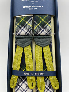 Albert Thurston for Cruciani & Bella Made in England Braid End Adjustable Sizing 40 mm wool braces Green and White Tartan Y-Shaped Nickel Fittings Size: L #0237