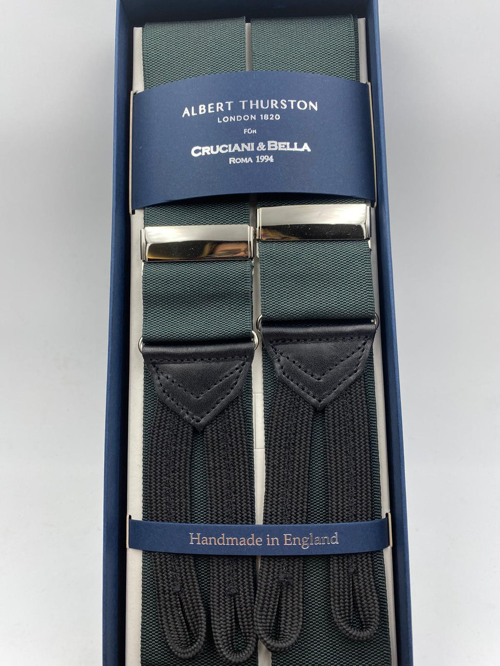 Albert Thurston for Cruciani & Bella Made in England Adjustable Sizing 40 mm Woven Barathea  Forest Green plain braces Braid ends Y-Shaped Nickel Fittings Size: XL #4982