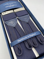 Albert Thurston for Cruciani & Bella Made in England Adjustable Sizing 40 mm Woven Barathea  Dark Blue braces Braid ends Y-Shaped Nickel Fittings Size: XL #4986