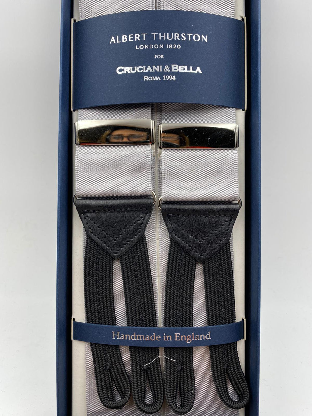 Albert Thurston for Cruciani & Bella Made in England Adjustable Sizing 40 mm Woven Barathea  Grey  braces Braid ends Y-Shaped Nickel Fittings Size: XL #4981