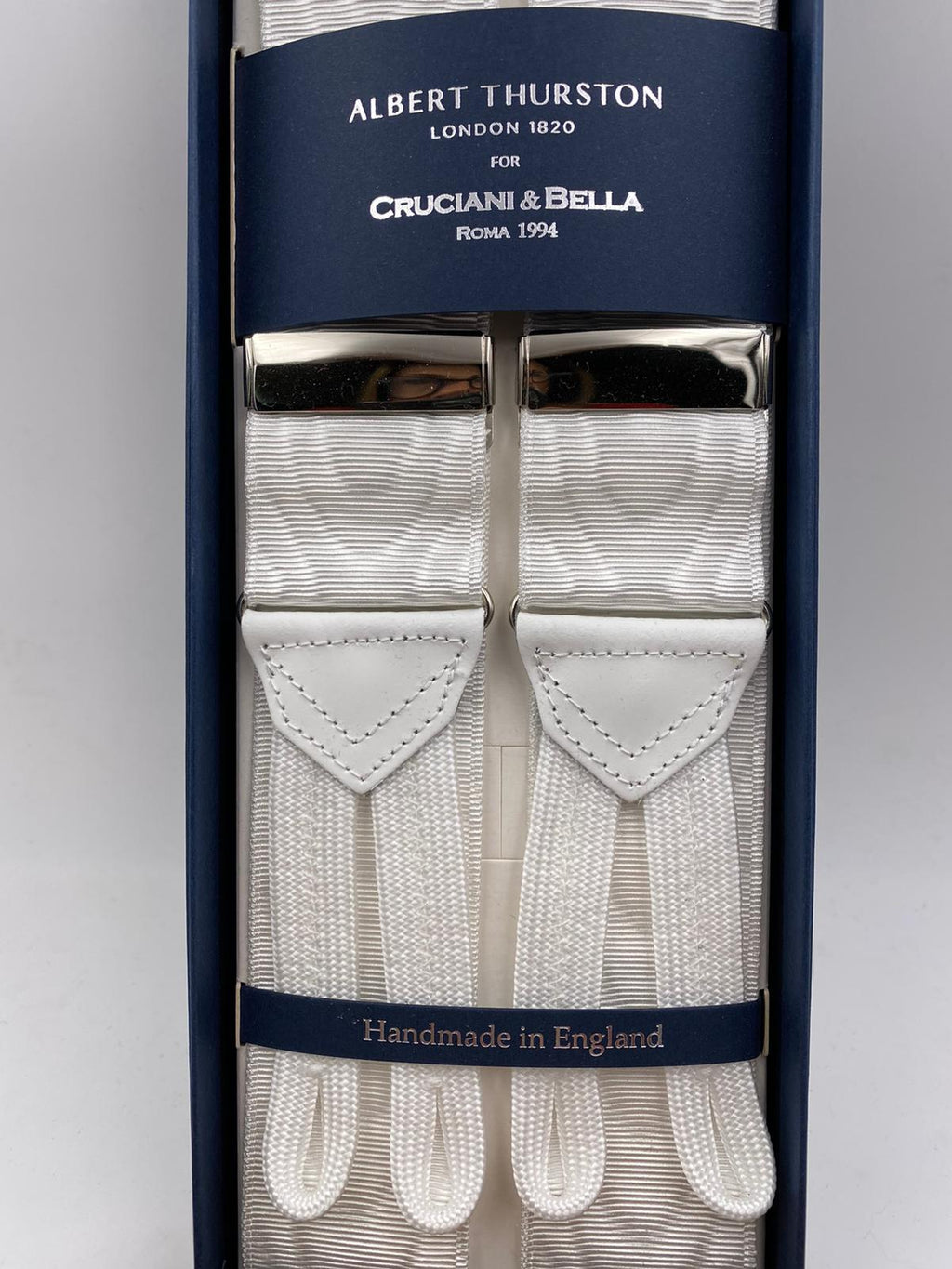Albert Thurston for Cruciani & Bella Made in England Adjustable Sizing 40 mm Woven Barathea  White Moiré  braces Braid ends Y-Shaped Nickel Fittings Size: XL #4985