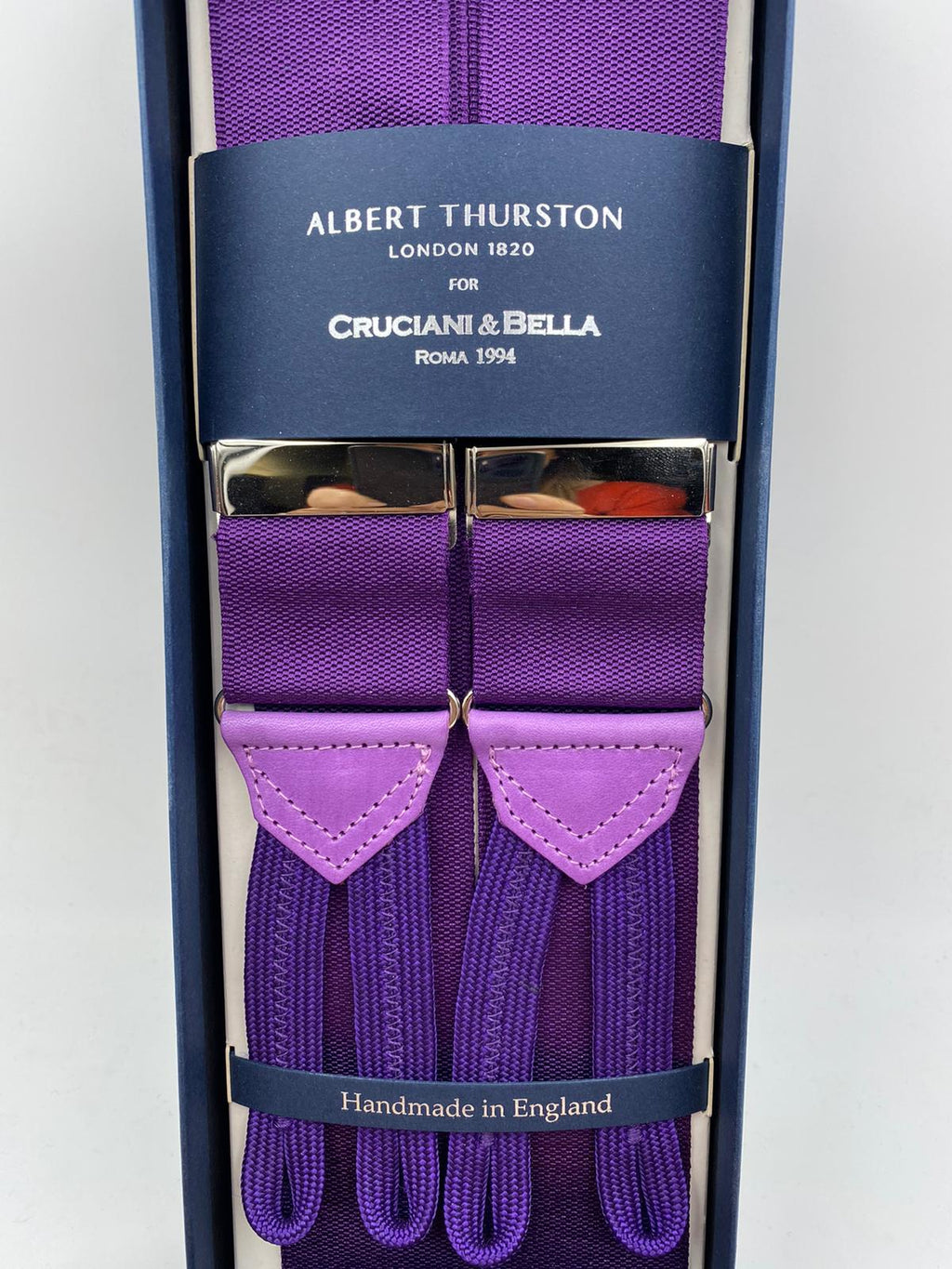 Albert Thurston for Cruciani & Bella Made in England Adjustable Sizing 40 mm Woven Barathea  Purple braces Braid ends Y-Shaped Nickel Fittings Size: XL #4980